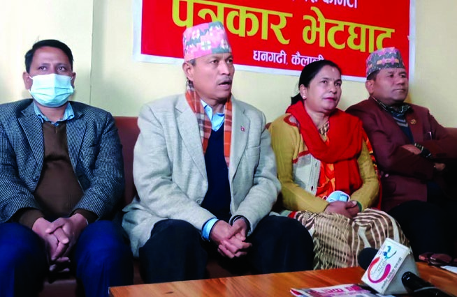 Nepal Communist Party (NCP) Standing Committee member Bhim Rawal addressing a press meet organised in Dhangadi, on Sunday. Photo: THT