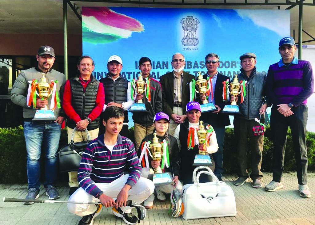 Winners of the Indian Ambassadoru2019s Invitational Golf Tournament pose for a group photo with Indian Ambassador to Nepal Vinay Mohan Kwatra (centre) at the Gokarna Golf Club in Kathmandu on Sunday.