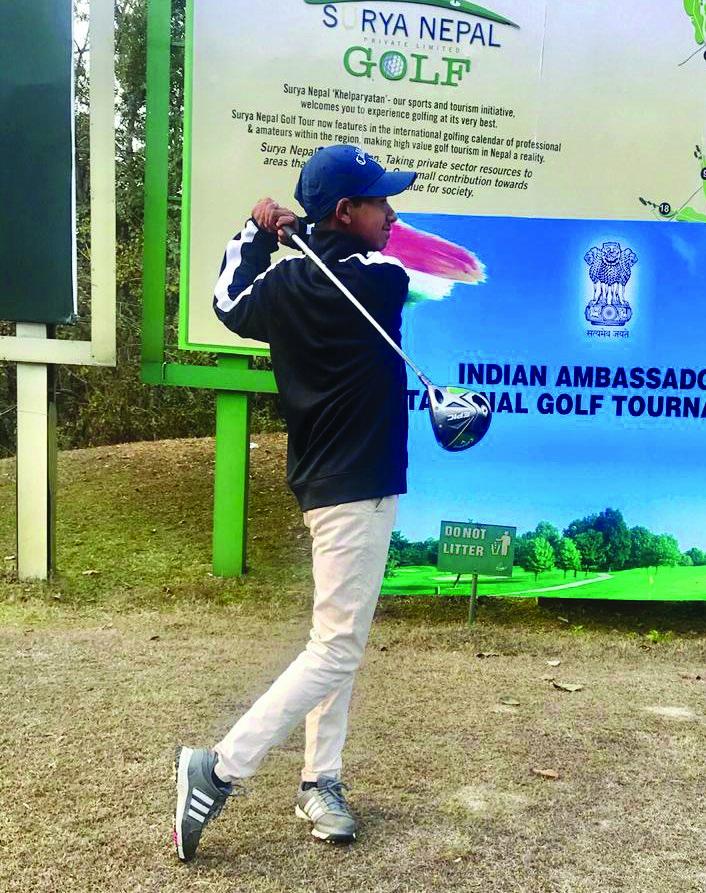 Sadbhav Acharya plays a shot during the Indian Ambassadoru2019s Invitational Golf Tournament at the Gokarna Golf Club in Kathmandu on Saturday.
