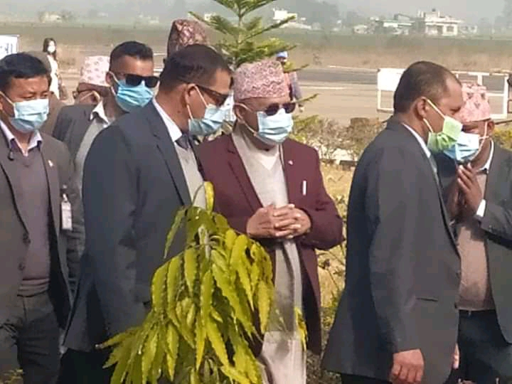 Prime Minister KP Sharma Oli arriving Dhangadhi Airport to address a mass gathering in Kailali, on Friday, January 8, 2021. Photo: Tekendra Deuba/ THT