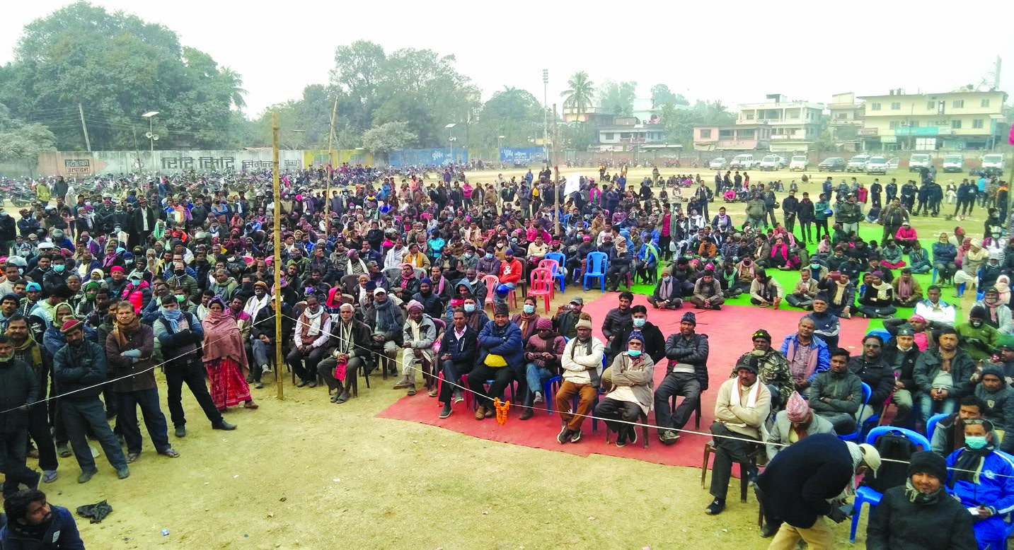 Participants of a programme organised by National Youth Association Nepal to show support for Prime Minister KP Sharma Oli in Rajbiraj, Saptari, on Thursday. Photo: THT